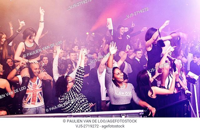 s' Hertogenbosch, Den Bosch, Netherlands, Fans, exuberant men and women enjoying the music
