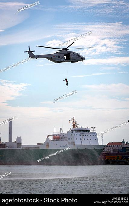Illustration shows Helicopter NH90 pictured at the military diving school at the Zeebrugge naval base, Friday 04 September 2020