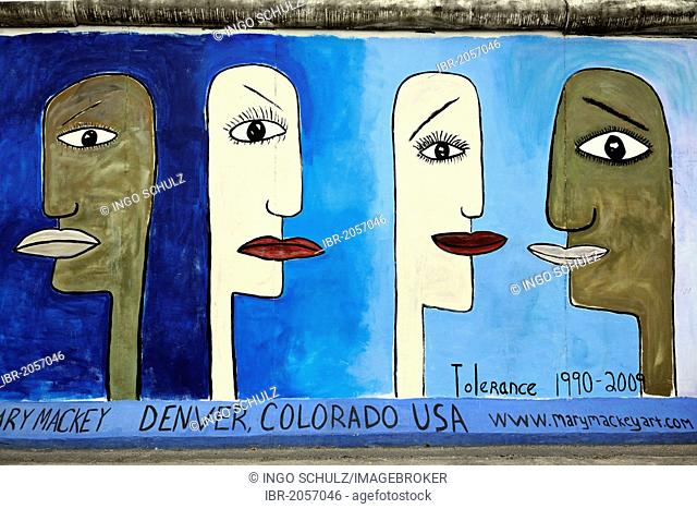 Tolerance, by Mary Macky, painting on the Berlin Wall, East Side Gallery, Berlin, Germany, Europe