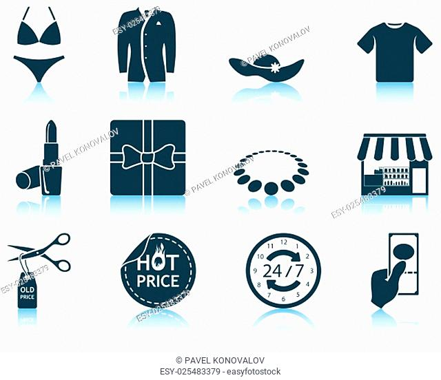 Set of shopping icons. EPS 10 vector illustration without transparency