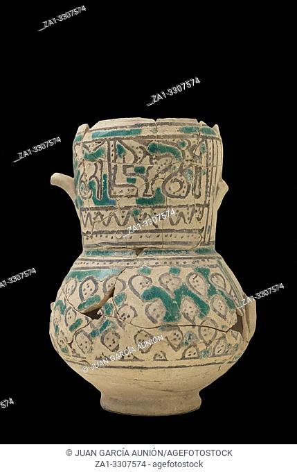 Cartagena, Spain - Sept 14th, 2018: Jar decorated with barakah inscription that means blessing or luck. Roman Theatre Museum, Spain