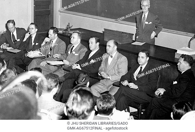 Presentation at the Second Annual Regional Television Review at Baltimore, with American television host Lynn Poole standing in back, 1952