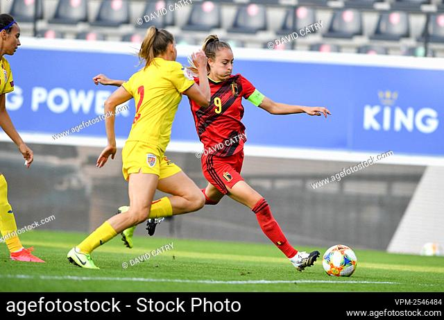 Belgium's Tessa Wullaert pictured in action during a soccer game between Belgium's Red Flames and Romania, Friday 18 September 2020 in Heverlee