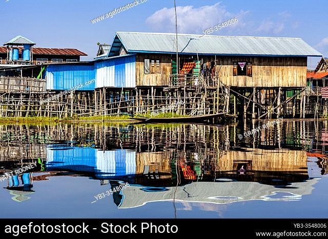 Stilt Houses On Lake Inle, Nam Pan Floating Village, Shan State, Myanmar