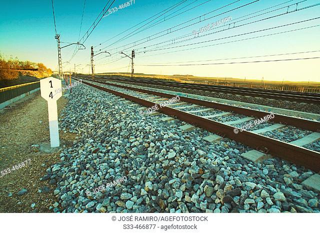 Milestone by railroad. Madrid, Spain
