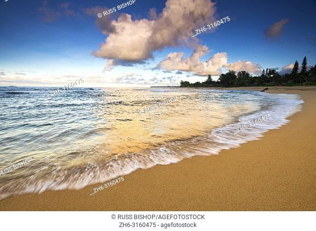 Evening light over the Pacific from Tunnels Beach, Kauai, Hawaii USA