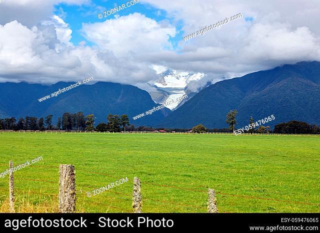 Scenic view of Fox Glacier in New Zealand