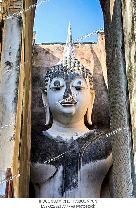 Stone white buddha in Sukhothai Historic Park, Thailand