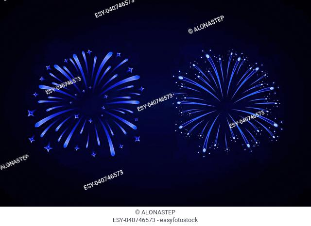 Beautiful blue fireworks set. Bright fireworks isolated black background. Light blue decoration fireworks for Christmas, New Year celebration, holiday festival