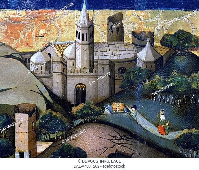 Landscape with the Episcopal Church, detail from Flight into Egypt, altarpiece from Verdu, 1432-34, by Jaume Ferrer II known as The Younger (active between 1430...