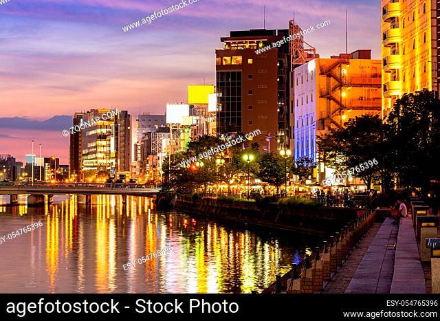 Fukuoka old town along naka river at Nakasukawabata sunset twilight. This area is favorite for tourist for Fukuoka Yatai, street Food stall