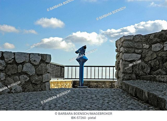 Lookout point with telescope, Guadelest, Guadalest, Costa Blanca, Spain