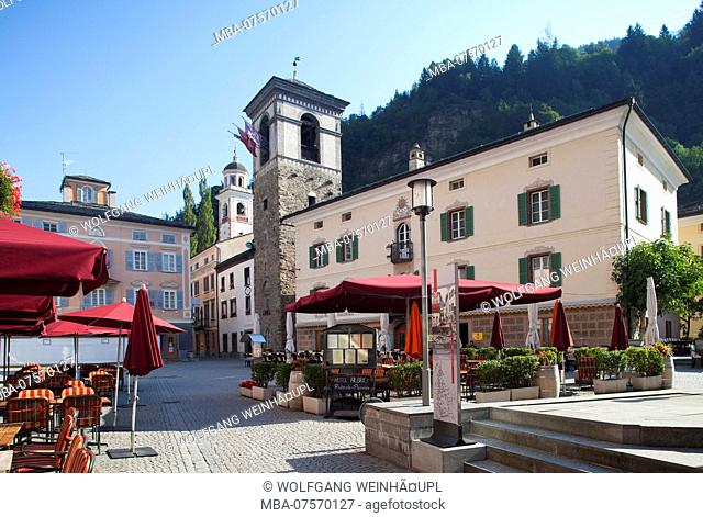 Town Hall and fortified tower on village square, Piazza Comunale, Poschiavo, Bernina Region, Canton of Grisons, Switzerland