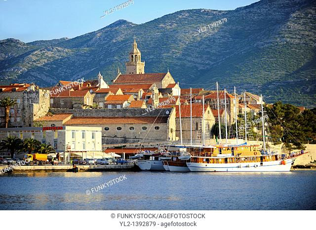 charter cruise boats in the harbour of Korcula town  Korcula  Island Craotia
