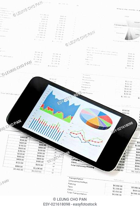 Business chart on mobile phone