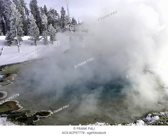 Midway geyser Basin with the parks largest hot springs in Yellowstone National Park