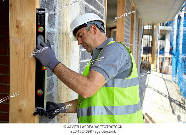 Level, Hand Tools for construction, Worker, Housing construction, Basque Country, Spain
