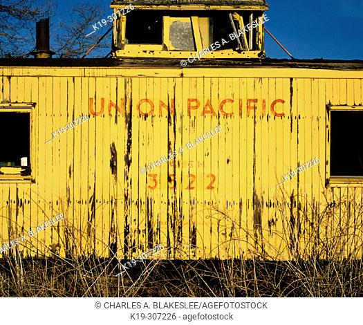 Old train caboose. Union Pacific Railroad. Shaniko. Wasco County. Eastern Oregon. USA