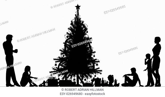 Editable vector silhouette of a family around a Christmas tree with all elements as separate objects