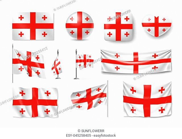 Set Georgia flags, banners, banners, symbols, flat icon. illustration of collection of national symbols on various objects and state signs