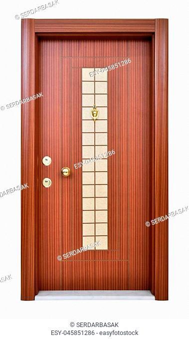 Wood looking front door. Internal stainless steel