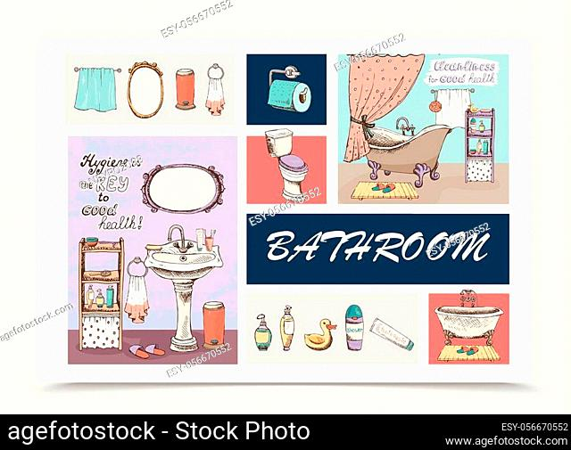 Hand drawn bathroom elements composition with bathtubs washbasin toilet paper mirror towels trash slippers shower gel liquid soap shampoo bottles toothpaste...