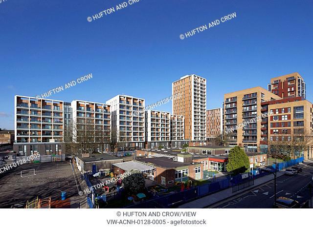 Dalston Junction Interchange, London, United Kingdom. Architect: John McAslan & Partners, 2014. Elevated contextual view of housing