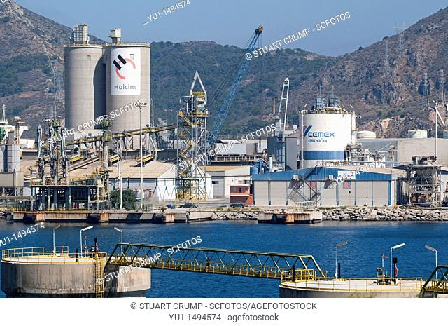 Cartagena large Oil Refinery on the coastline at Cartagena in the region of Murcia, South Eastern Spain