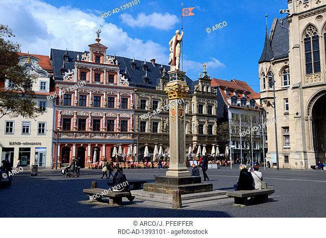 Fischmarkt mit Haus zum breiten Herd, Gildehaus und Rathaus, Erfurt, Thueringen, Deutschland, Europa