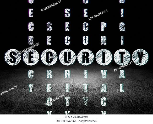 Security concept: Glowing word Security in solving Crossword Puzzle in grunge dark room with Dirty Floor, black background, 3d render