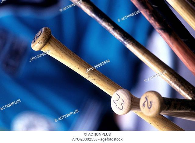 Collection of wooden baseball bats