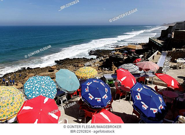 Colourful parasols at the Atlantic coast, Tangier-Assilah, Tangier-Tetouan, Morocco, North Africa, Maghreb, Africa
