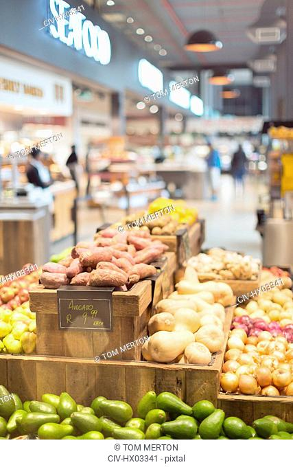 Fresh, organic produce on display in grocery store market