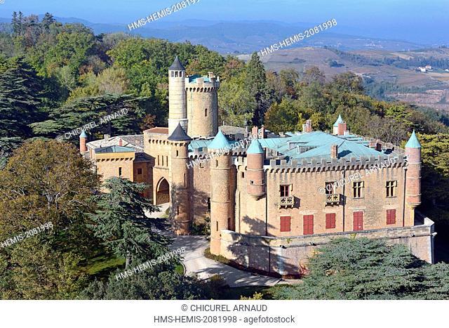 France, Rhone, Beaujolais region, the wine producing castle of Montmelas Saint Sorlin (aerial view)