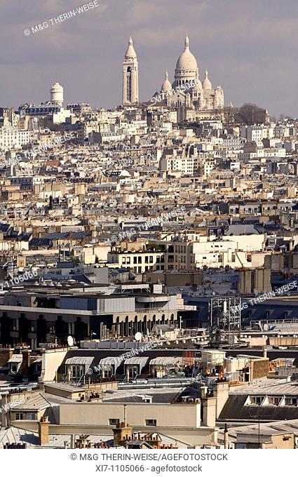 View over the Basilica Sacre Coeur and the roofs of Paris, France