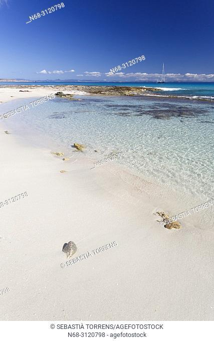 Es Calo beach, Formentera, Balearic Islands, Spain