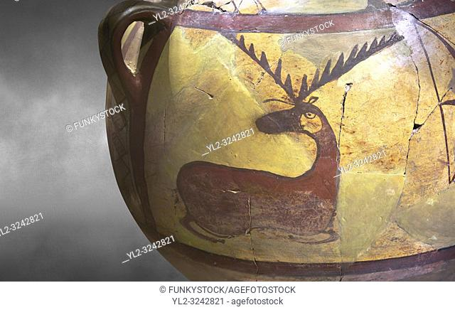 Close up of a Phrygian terra cotta large jug with handles, decorated with animals, from Gordion. Phrygian Collection, 6th century BC - Museum of Anatolian...