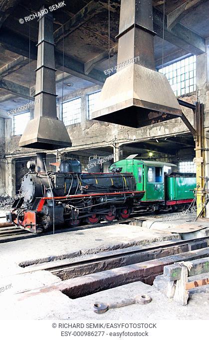steam locomotive in depot, Kostolac, Serbia