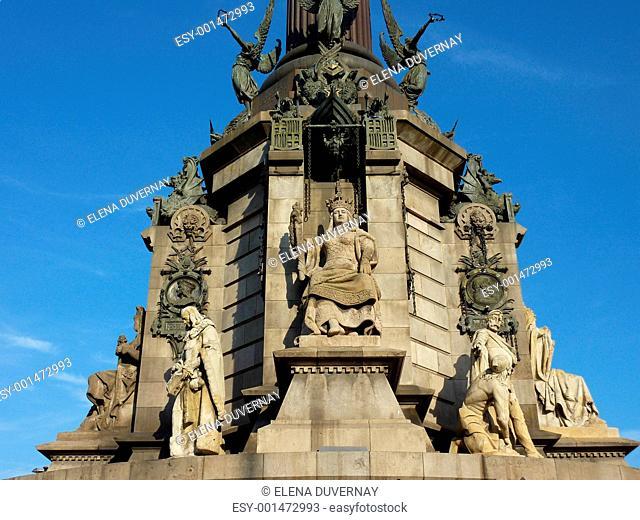 Base of Christopher Columbus memorial, Barcelona, Spain