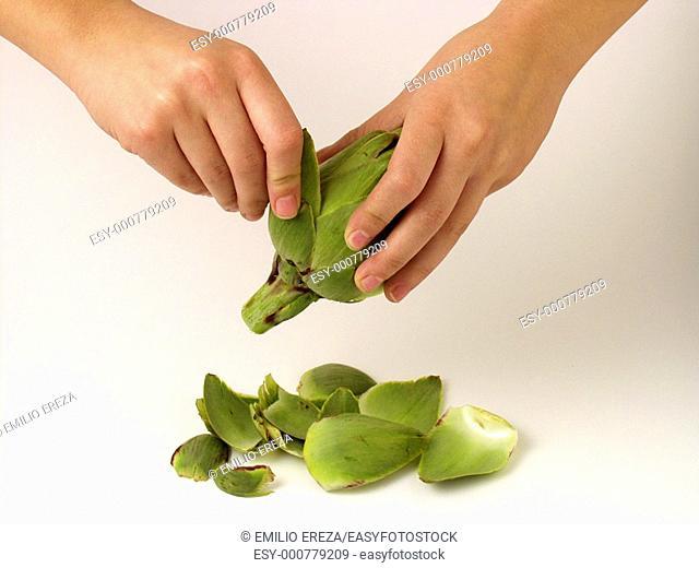 Peeling artichokes