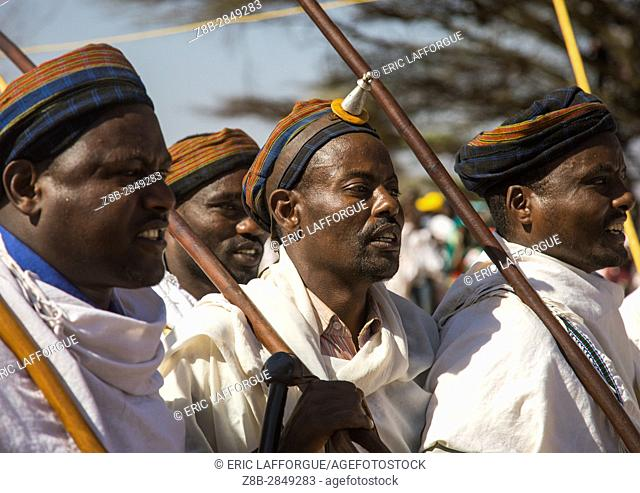 Man wearing kalasha on his forehead during during the Gada system ceremony in Borana tribe, Oromia, Yabelo, Ethiopia