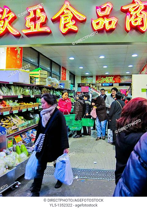 Paris, France, Women Shopping, Chinese Food Store, Chinatown, Outside, Front, Night