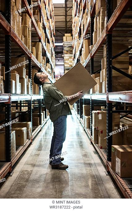 Caucasian male warehouse worker standing in an aisle, holding a box and checking inventory on stacks of cardboard boxes holding products on large racks in a...