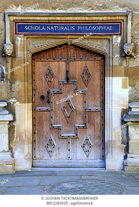 Entrance to the Bodleian Library, main library of the University of Oxford, Oxford, Oxfordshire, United Kingdom, Europe