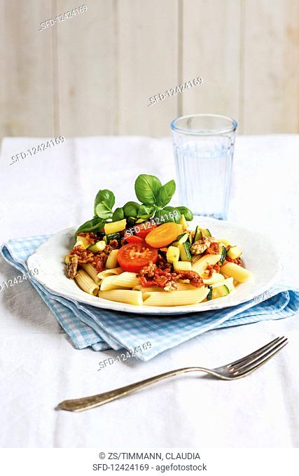 Penne with bolognese sauce and walnuts