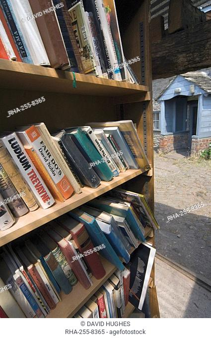 Bookstall in grounds of Hay on Wye castle, Powys, mid-Wales, Wales, United Kingdom, Europe