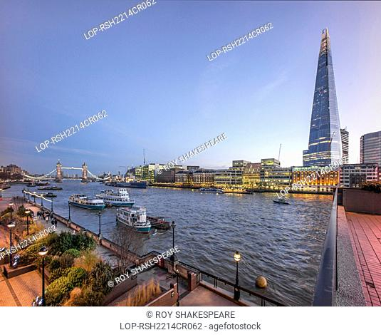 England, London, City of London. The Shard with The River Thames and Tower Bridge