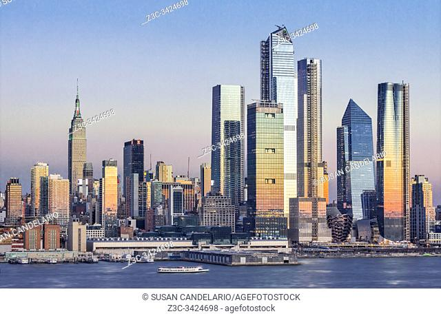 The NYC skyline, as well as the Chelsea and Hudson Yards neighborhoods of Manhattan in, New York City