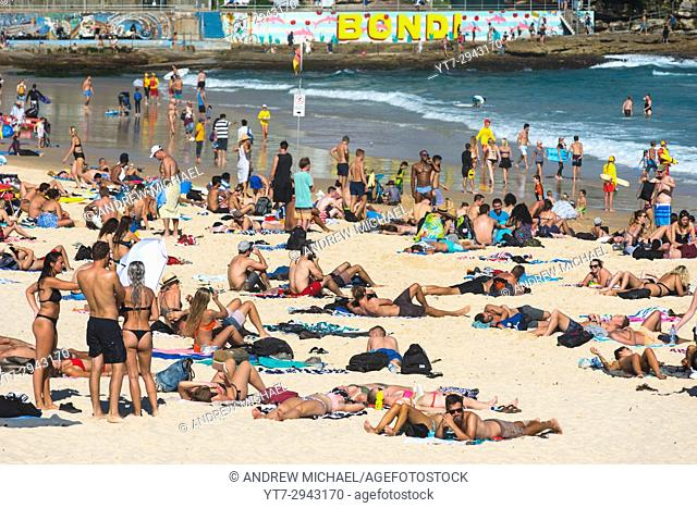 A crowded Bondi beach on a summer's day. Sydney, NSW. Australia