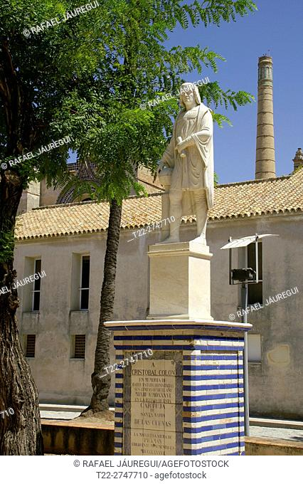 Sevilla (Spain). Sculpture of Christopher Columbus inside the Monumental Set of the Cartuja and the Andalusian Centre of Contemporary Art of Seville